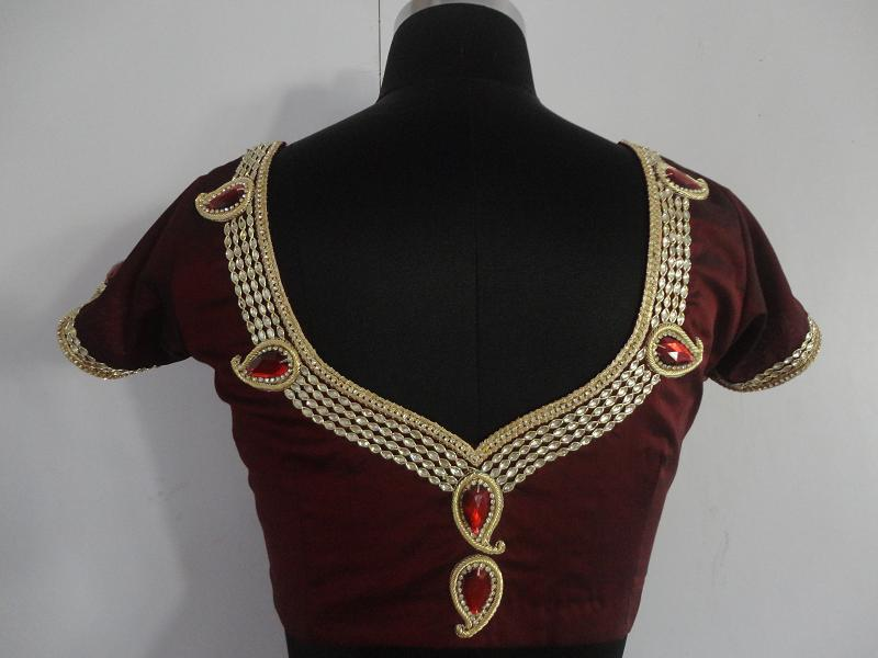 jewellery blouse neck design