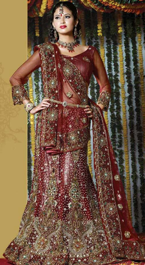Marron-netted-bridal-lehenga-choli