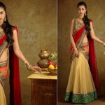 Cream-red-half-Saree