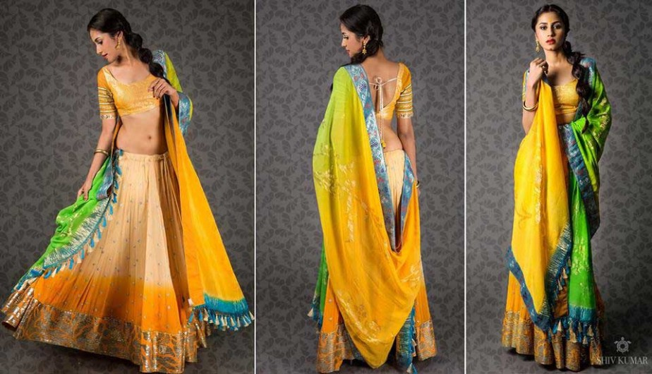 Orange-Green-half-Saree
