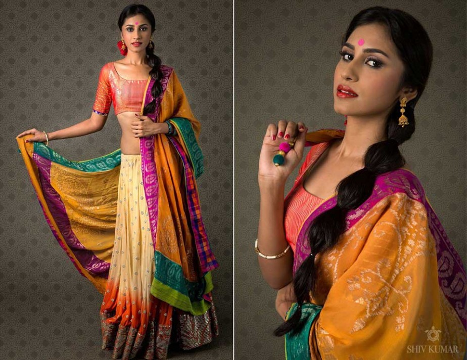 Pink-yellow-half-Saree