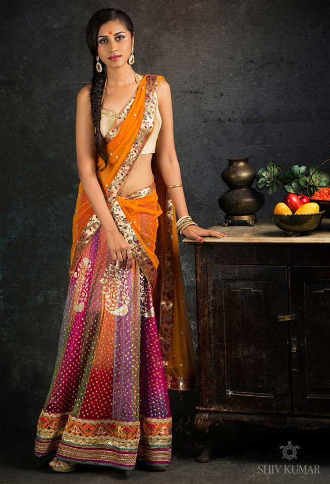 Shaded-pink-half-Saree