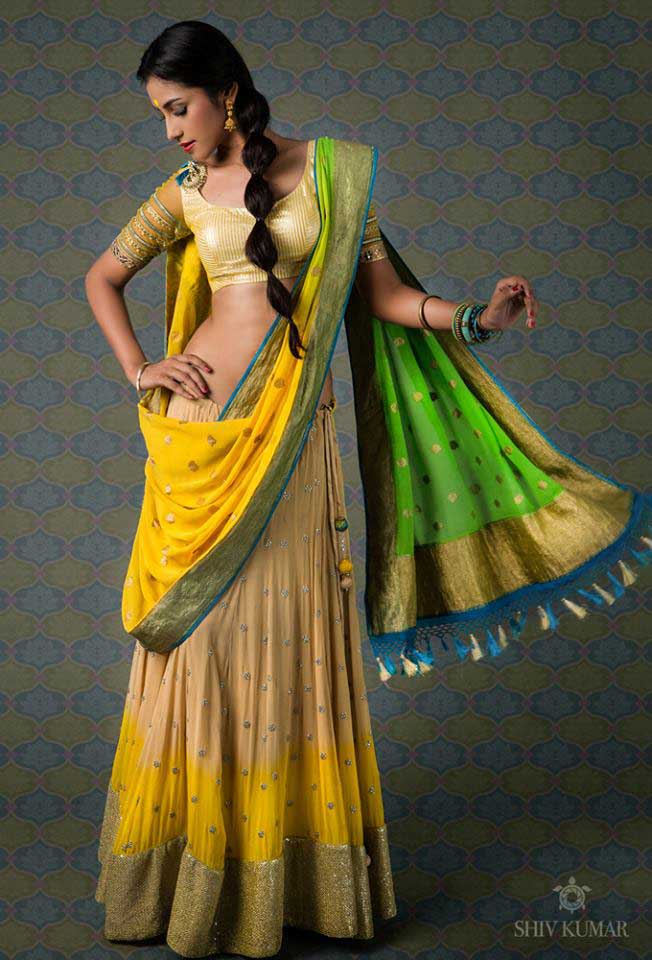 Yellow-Green-half-Saree