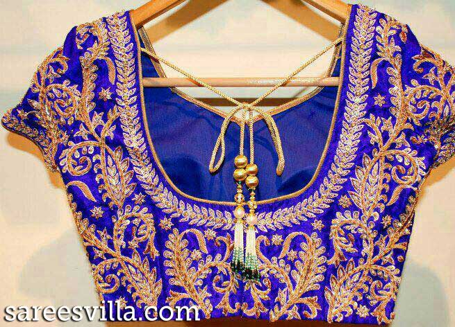 Zari Blouse Neck Designs 71
