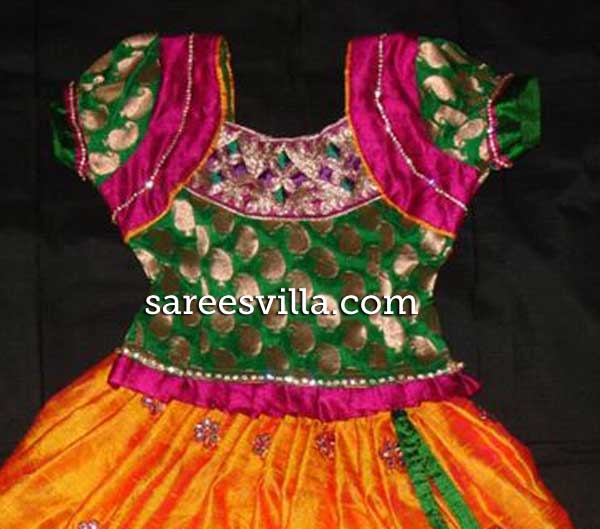 Pink-green-blouse-design