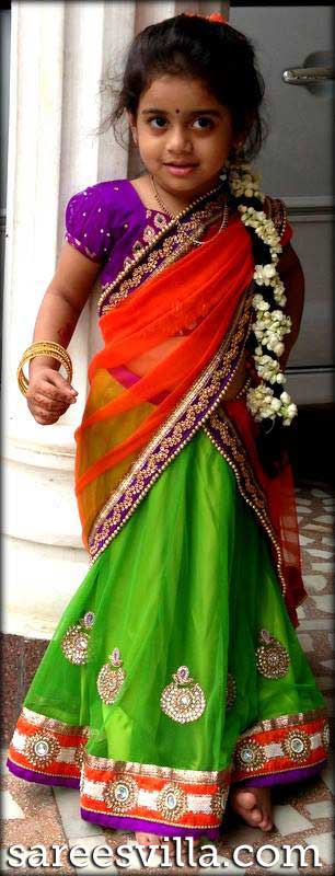Red Green Half Saree