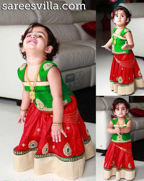 Red-green-pattu-lehenga