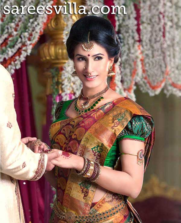 Wedding-Saree-Puff-Sleeves-Blouse