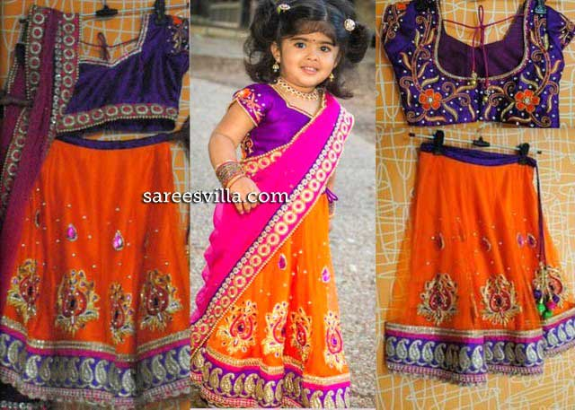 Small Girl in Orange Half Saree