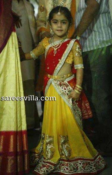 Yellow Red Half Saree