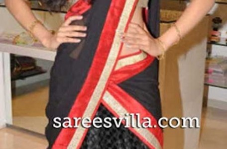 Deepthi Sati in stylish half Saree