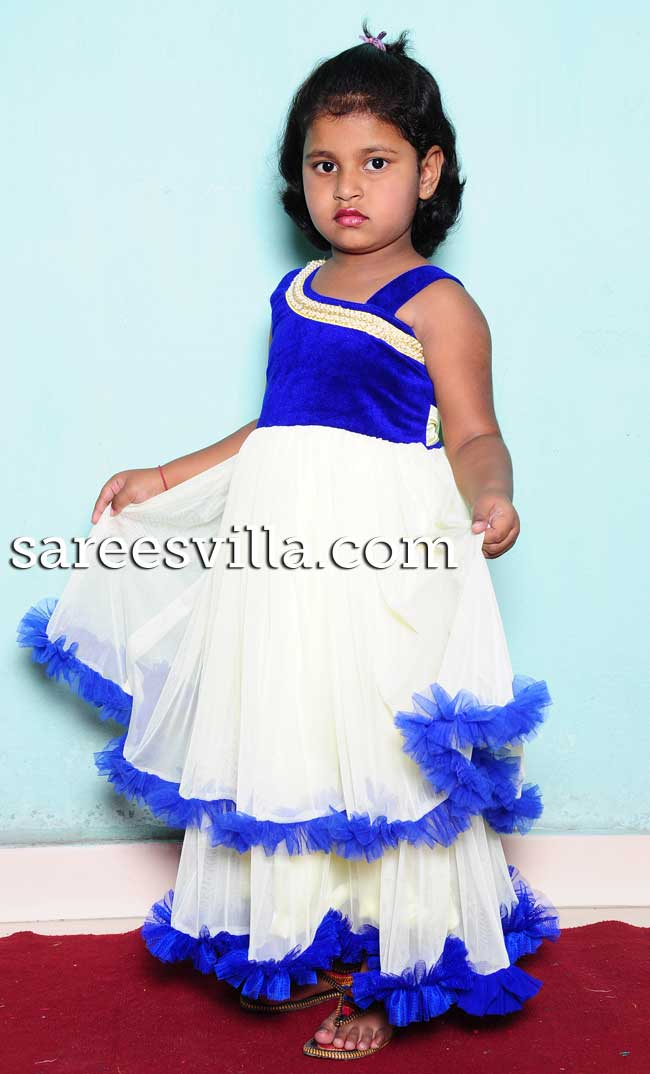 White and Blue Designer Frock