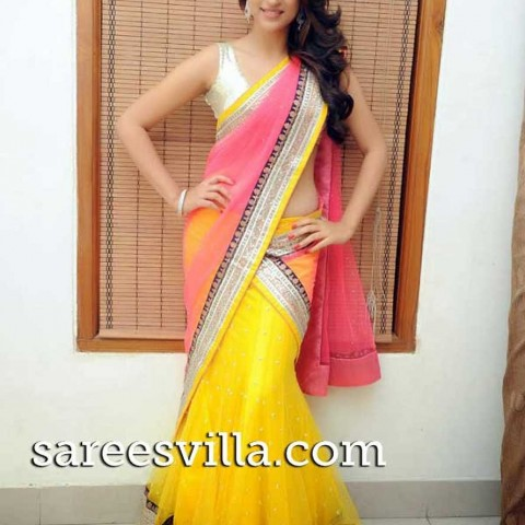 Shraddha-Das-in-yellow-pink-half-saree