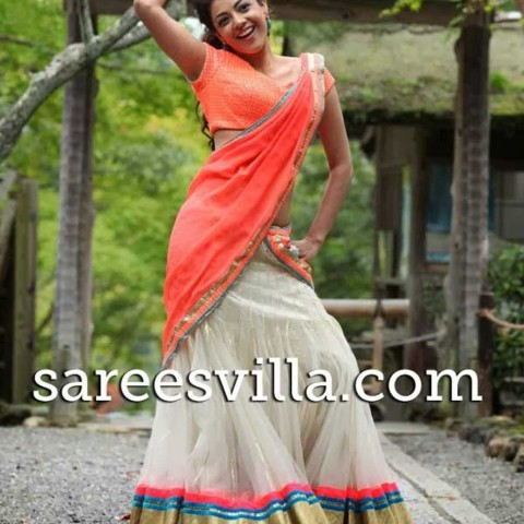 kajal-agarwal-cream-half-saree-in-jilla-movie