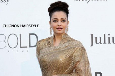 Aishwarya Rai with Chignon or High Bun Hairstyle
