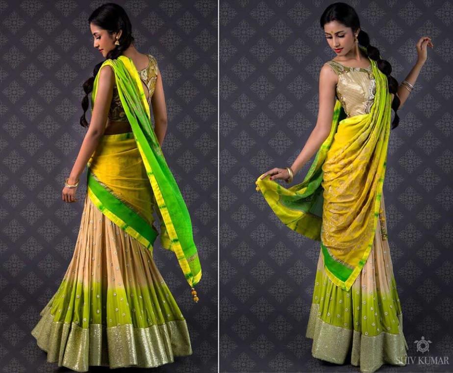 Green-yellow-half-Saree