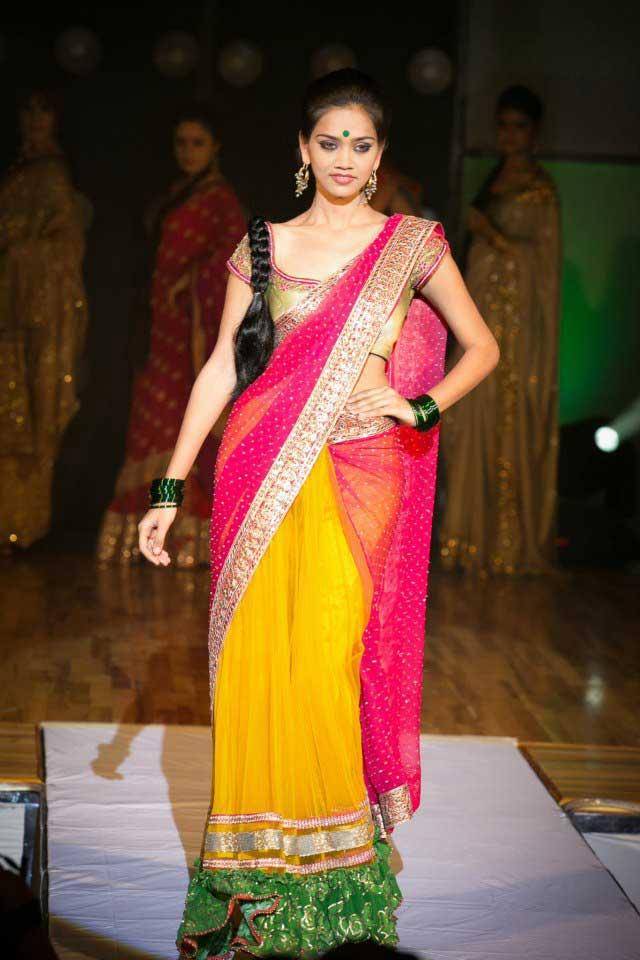 Yellow-pink-half-Saree