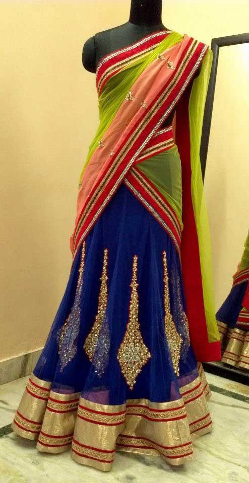 Designer-blue--half-saree