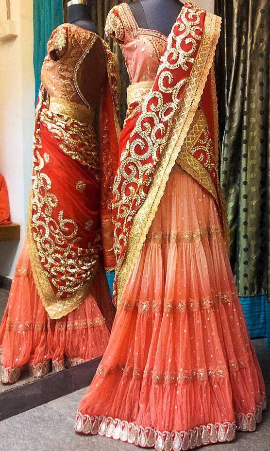 half-saree-orange