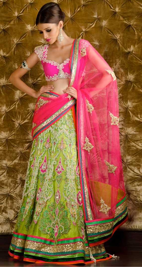 pinke-green-half-saree