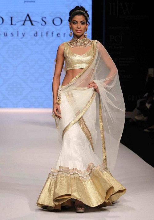 white-antique-golden-designer-half-saree