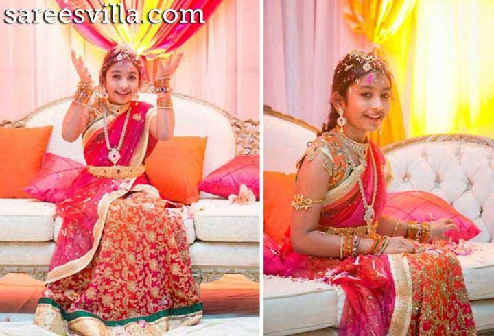 Pink Shaded Half Saree