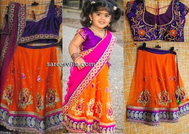 Small Girl in Orange Half Saree