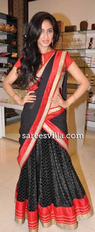 Deepthi Sati in stylish half Saree