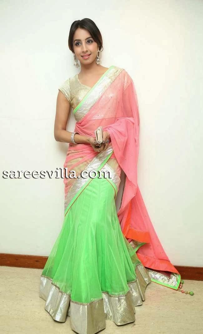 Sanjana in designer half saree