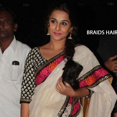 Vidya Balan in Braids Hairstyle