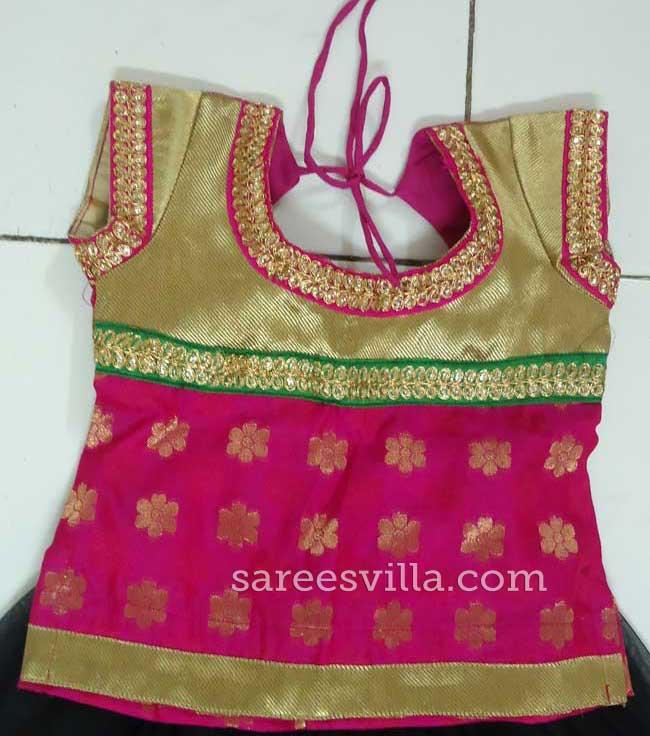 Pink Gold Banaras Designer Blouse