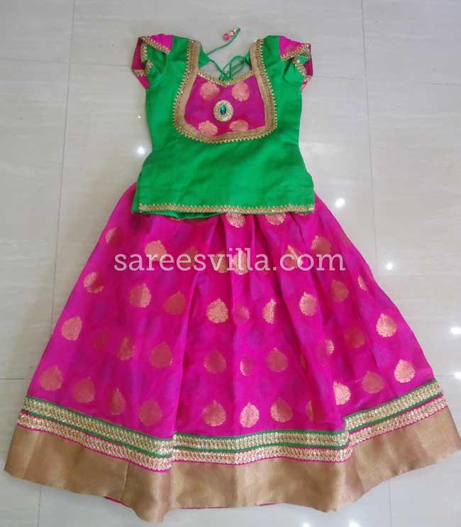 Pink & Green Designer Lehengam